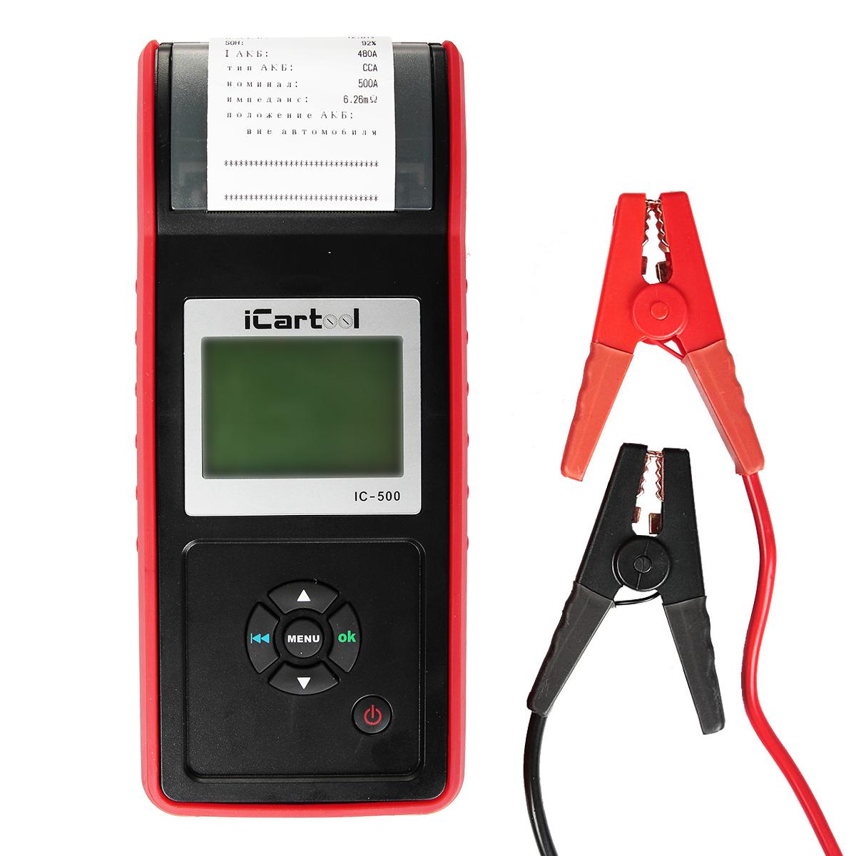 Тестер аккумуляторных батарей (АКБ) 12/24V iCartool IC-500