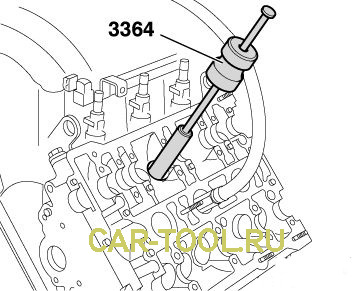 С помощью данного приспособления 3364 снимаются маслосъемные колпачки.